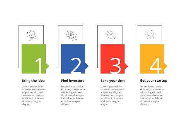 4단계 원형 기업 워크플로 그래픽이 있는 비즈니스 프로세스 차트 인포그래픽