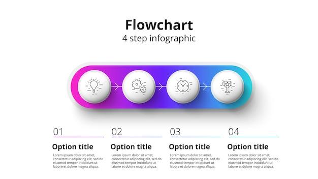 4단계 세그먼트가 있는 비즈니스 프로세스 차트 인포그래픽 원형 기업 타임라인 인포그래프 요소