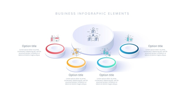 Business process chart infographics with 4 step segments. isometric 3d corporate timeline infograph elements.