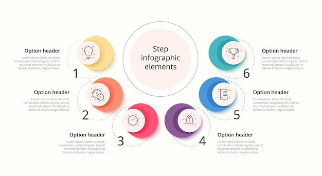 5단계 원 원형 기업 워크플로 그래픽 요소가 있는 비즈니스 프로세스 차트 인포그래픽