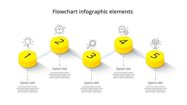 5단계 세그먼트 아이소메트릭 3d 기업 타임라인 인포그래프가 있는 비즈니스 프로세스 차트 인포그래픽