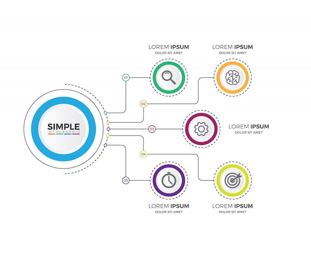 Business process chart infographics with 5 step segments