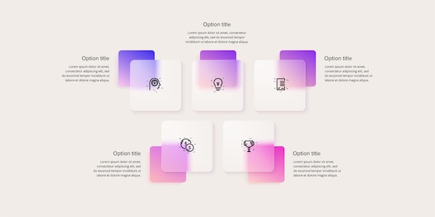 Business process chart infographics with 5 step squares. rectangular corporate workflow graphic elements. company flowchart presentation slide. vector info graphic in glassmorphism design.