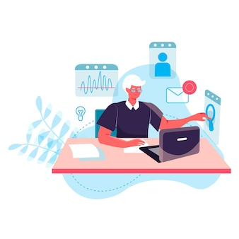 Business process concept. man analyst working at laptop, analyzes data, researching statistics. accounting and consulting character scene. vector illustration in flat design with people activities