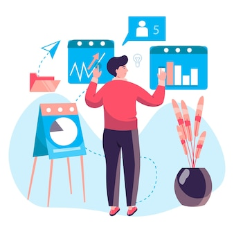 Business process concept. man analyzes data and company statistics, makes presentation with report. accounting and consulting character scene. vector illustration in flat design with people activities