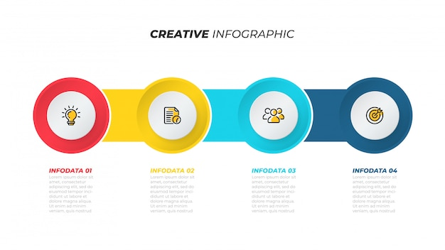 Business process. creative template layout with marketing icons. timeline with 4 steps, options. vector illustration.