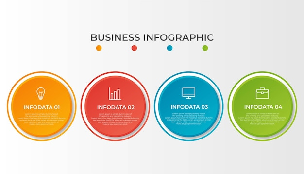 ビジネスプロセスのインフォグラフィックテンプレート。 4番目のオプションまたはステップを備えた細い線のデザイン。ベクトルイラストグラフィックデザイン
