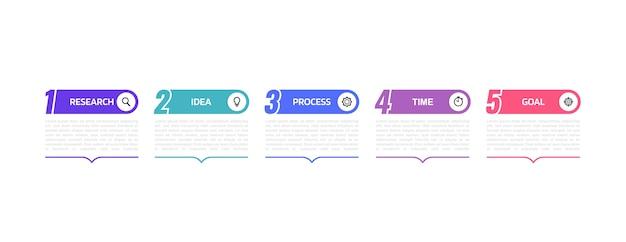 オプションまたは手順のビジネスプロセスインフォグラフィックテンプレート。イラストグラフィック。