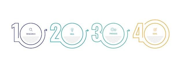 オプションまたは手順のビジネスプロセスインフォグラフィックテンプレート。細い線 。イラストグラフィック。