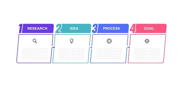 Инфографический шаблон бизнес-процесса с вариантами или шагами. тонкая линия . иллюстрация графика.