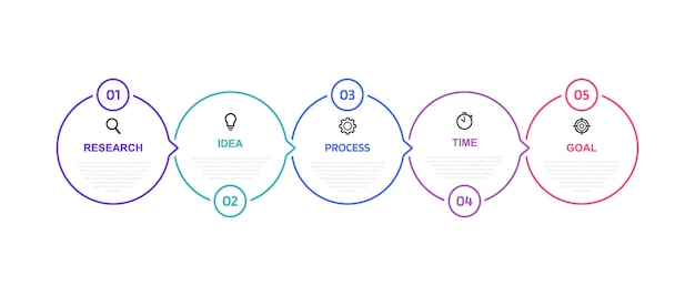 Business process infographic template with options or steps. thin line .  illustration graphic .