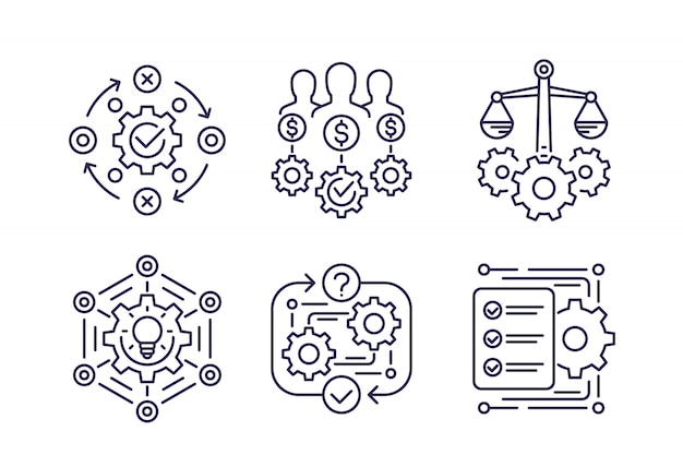 Business process, innovation and finance line icons