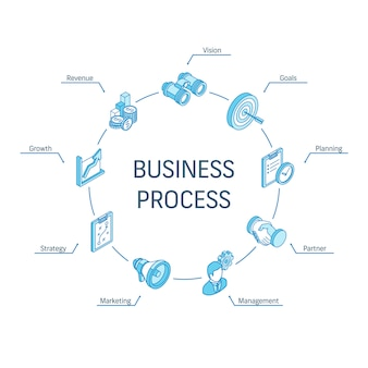 Business process isometric concept. connected line 3d icons. integrated circle infographic design system. strategy model, management, market, partner symbols