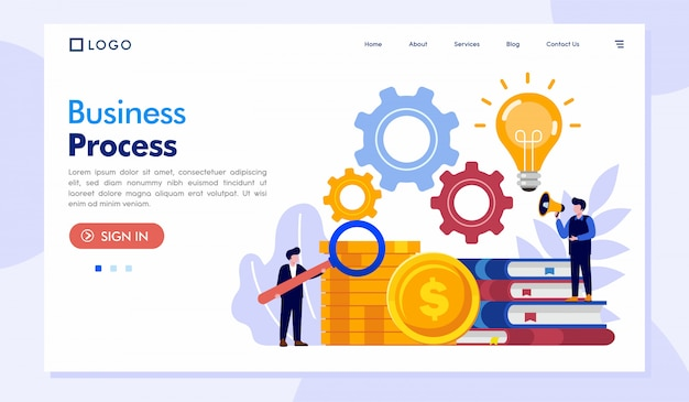 Business process landing page website illustration vector