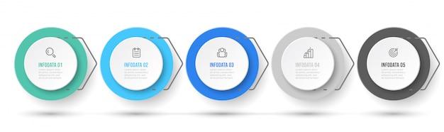 Бизнес-процесс. презентация инфографики дизайн этикетки с иконками и 5 вариантов или шагов.
