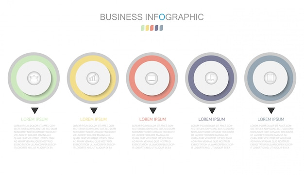 Business process template. timeline infographics with  five steps or options.