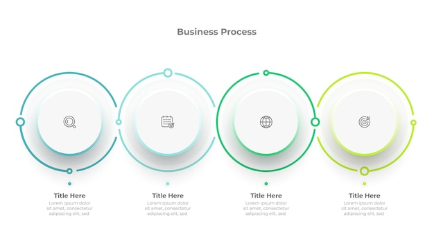 Business process template. vector time line concept with 4 options or steps.