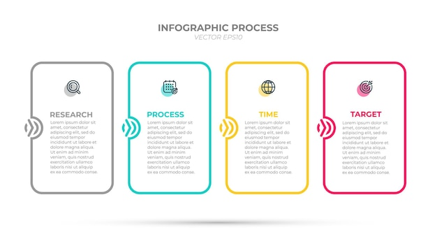 Business process. time line info graphic template label design with icons and 4 options or steps.