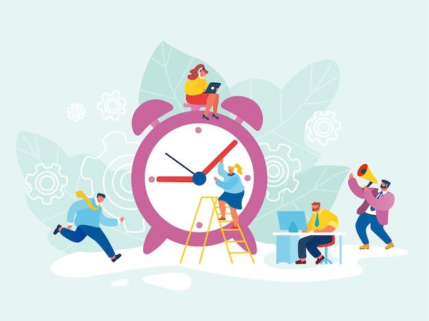 ビジネスプロセス、時間管理の概念。巨大な時計の周りを歩いている忙しいビジネスマンやビジネスウーマン。