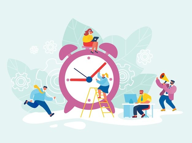 Business process, time management concept. busy businessmen and businesswomen walking around of huge clock.