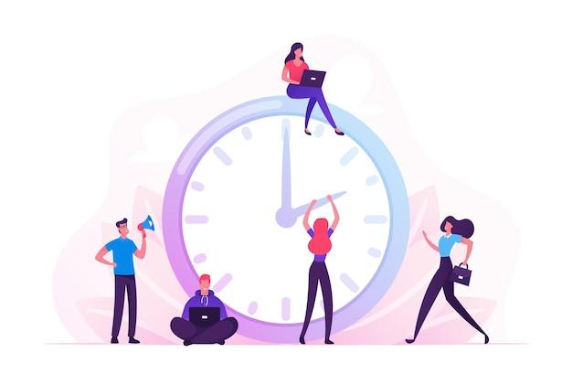 비즈니스 프로세스, 시간 관리 개념. 만화 평면 그림
