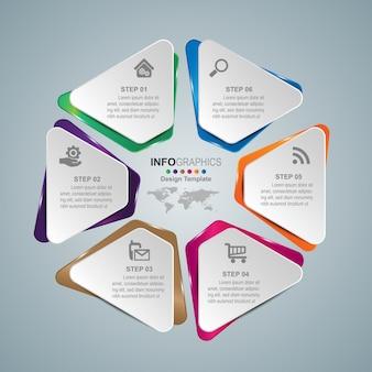 비즈니스 프로세스 타임 라인 인포 그래픽 6 단계.