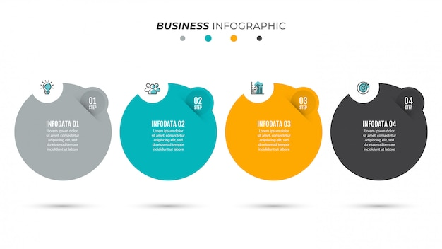 Business process timeline infographics with 4 steps.