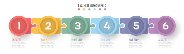Business process timeline infographics with 6 steps.