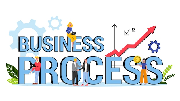 Business process word banner concept. idea of management and improvement procedure.   illustration