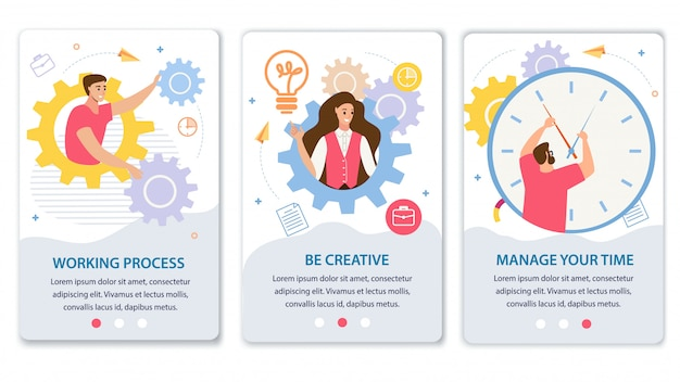 Business processes flat  web banners set