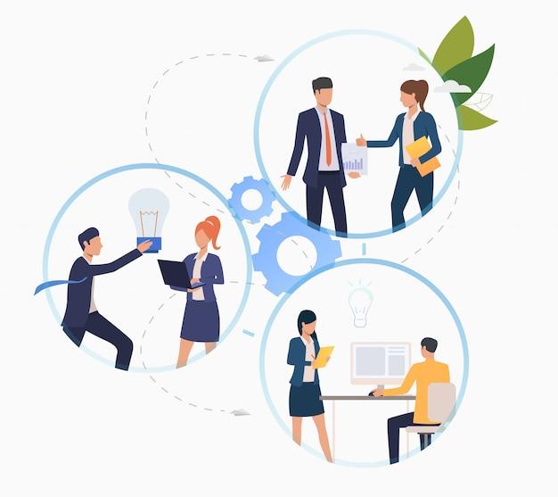 Бизнес-профессионалы работают над стартапом