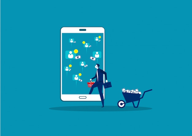 Business profit from online sale on smartphone