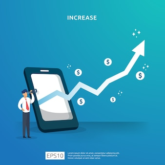 Business profit grow or income salary rate increase with growth up arrow and people character. margin revenue with dollar symbol. finance performance of return on investment roi illustration concept
