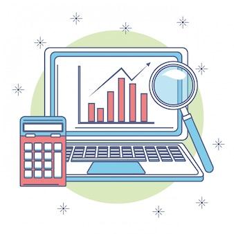 Business profits statistics in laptop screen