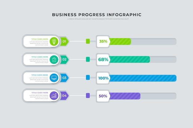 ビジネス進捗インフォグラフィック