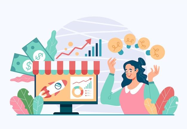 ビジネスプロジェクト開発者の新鮮なアイデアのフリーランスの仕事の受動的な収入の概念。フラットイラスト