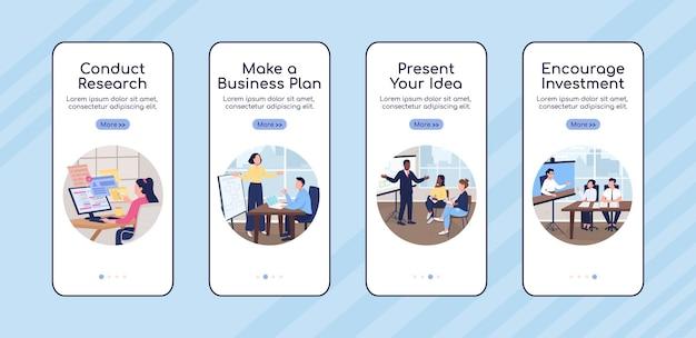 Business project development onboarding mobile app screen flat vector template. walkthrough website 4 steps with characters. creative ux, ui, gui smartphone cartoon interface, case prints set