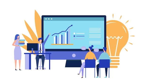 Business project presentation. attraction of investments concept. flat vector businesspeople characters, idea vector illustration. investing, startup, conference. illustration business project