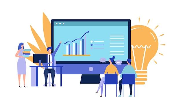 ビジネスプロジェクトのプレゼンテーション。投資コンセプトの魅力。フラットベクトルビジネスマン文字、アイデアベクトルイラスト。投資、スタートアップ、会議。イラストビジネスプロジェクト