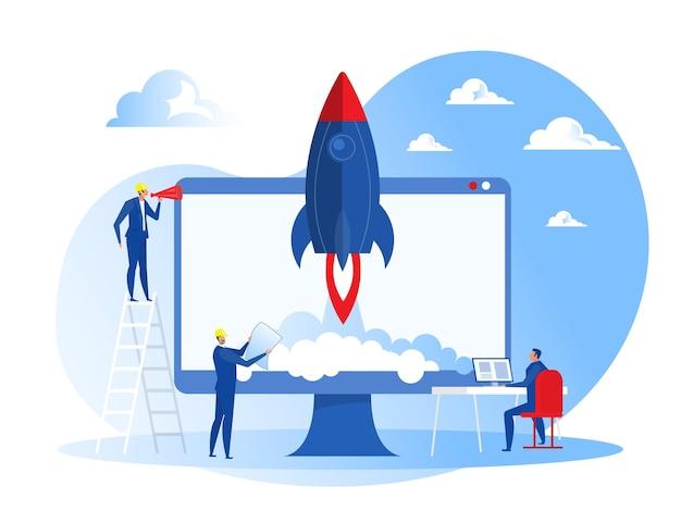 ビジネスプロジェクトの立ち上げ人々が宇宙船ロケットのコンセプトを打ち上げる