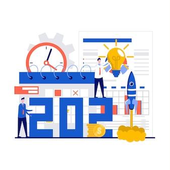 캐릭터와 함께 새해 비즈니스 프로젝트 시작 프로세스 개념. 계획 및 전략, 시간 관리, 실현을 통한 아이디어.