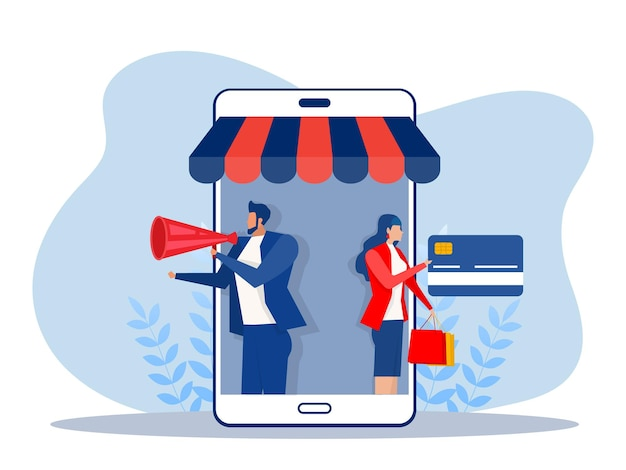 Бизнес-продвижение магазин-магазин на смартфоне, концепция покупок в интернете