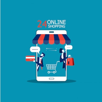 Business promote shop store on smartphone, shopping online concept illustrator