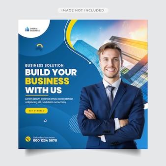 Бизнес-продвижение и корпоративный пост в instagram и шаблон баннера