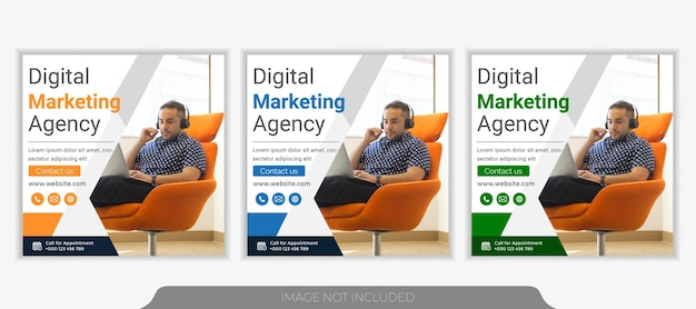Шаблон поста в социальных сетях агентства по продвижению бизнеса и креативного маркетинга