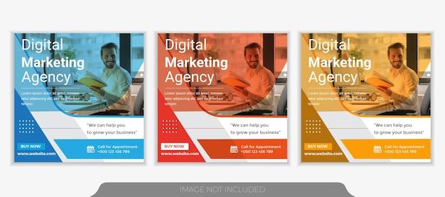 Шаблон поста в социальных сетях агентства по продвижению бизнеса и креативного маркетинга.