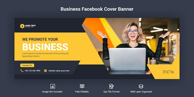 Business promotion and corporate facebook cover banner template