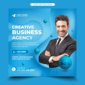 Business promotion and creative agency social media post template