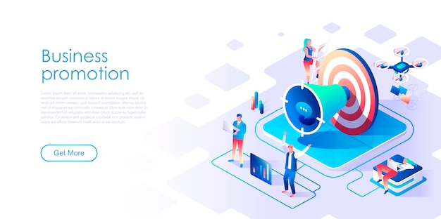 Business promotion isometric landing page template