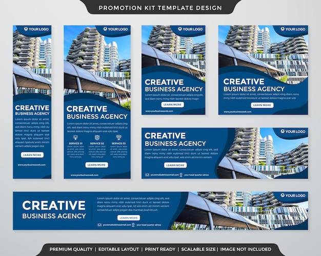 Business promotion kit template design with abstract style use for creative digital ads